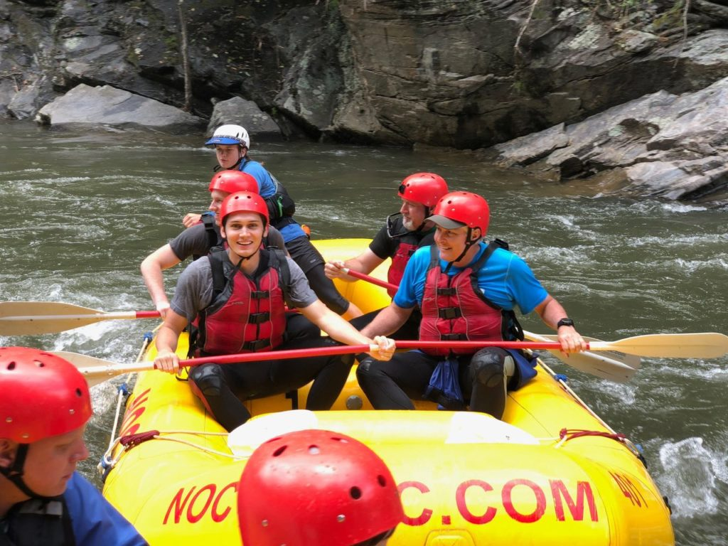 Jack and Tim rafting