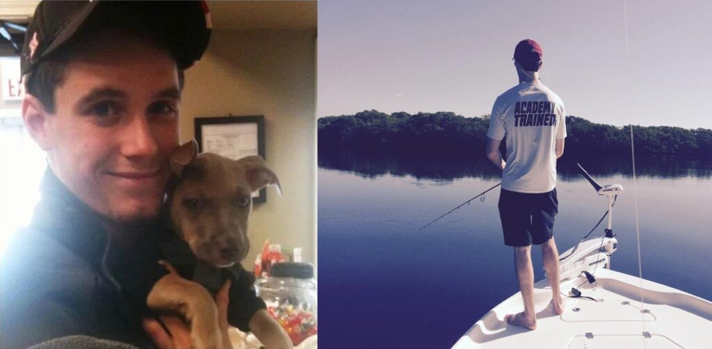 Taylor with his dog and fishing
